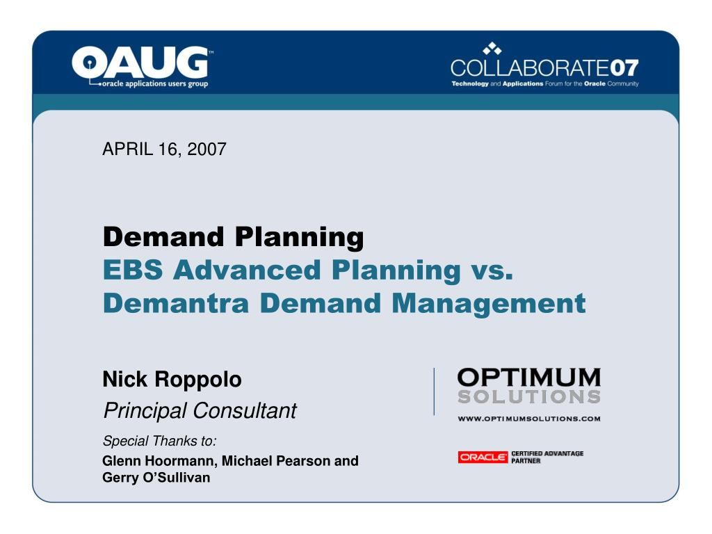 demand planning ebs advanced planning vs demantra demand management l.
