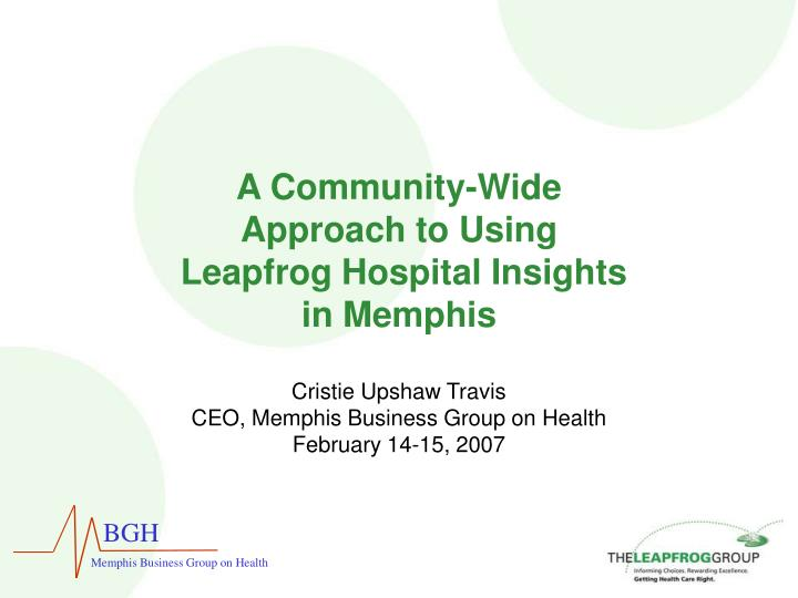 A community wide approach to using leapfrog hospital insights in memphis