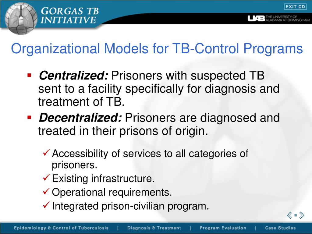 Organizational Models for TB-Control Programs