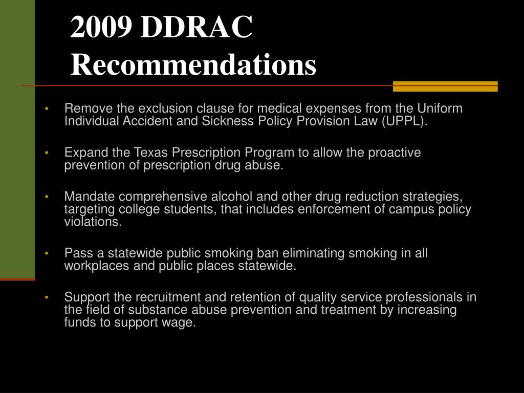 2009 DDRAC Recommendations