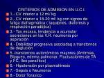 criterios de admision en u c i