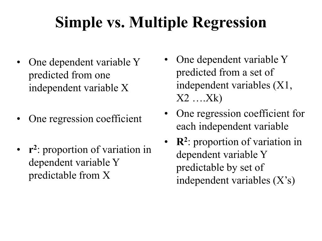 One dependent variable Y predicted from one independent variable X