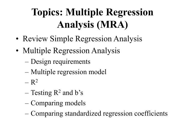 Topics multiple regression analysis mra