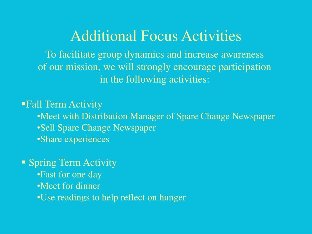 Additional Focus Activities