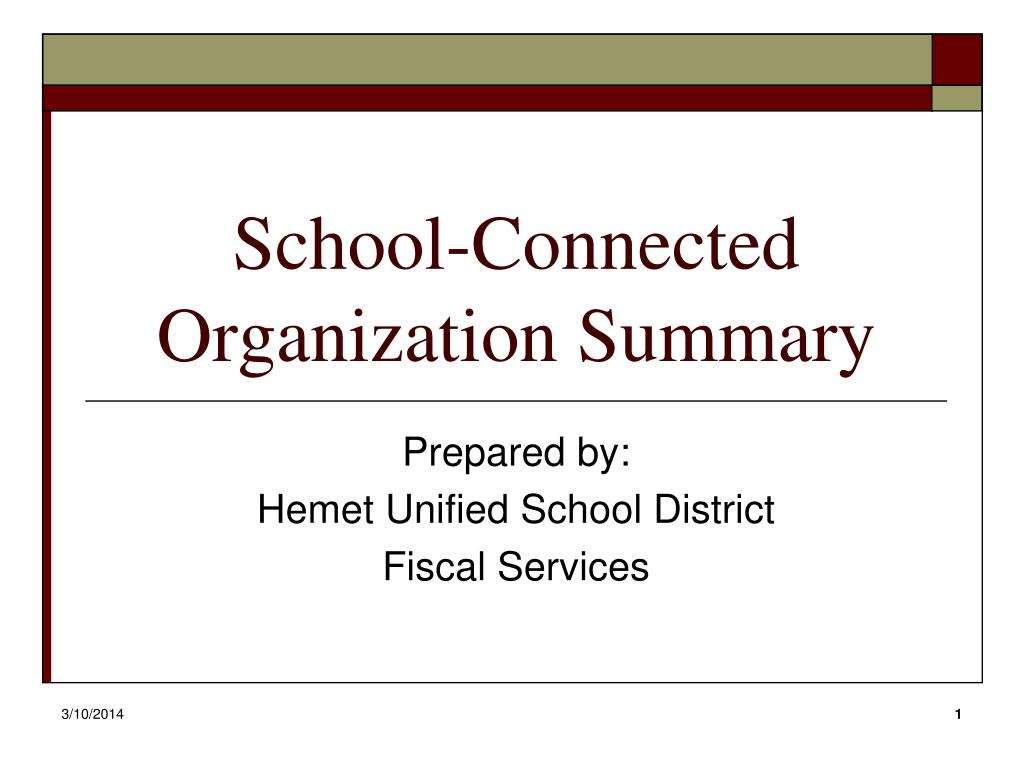 school connected organization summary l.