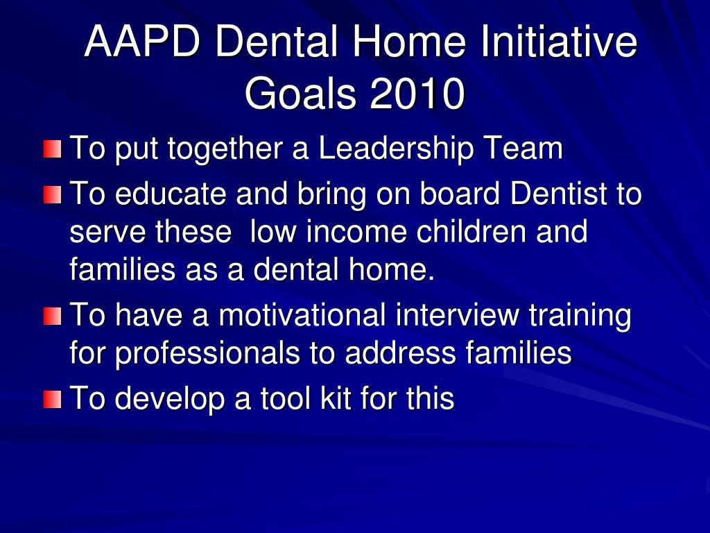 AAPD Dental Home Initiative Goals 2010