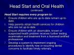 head start and oral health continued