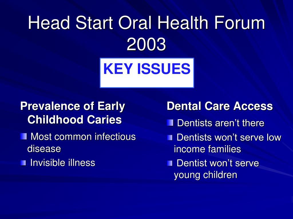 Head Start Oral Health Forum