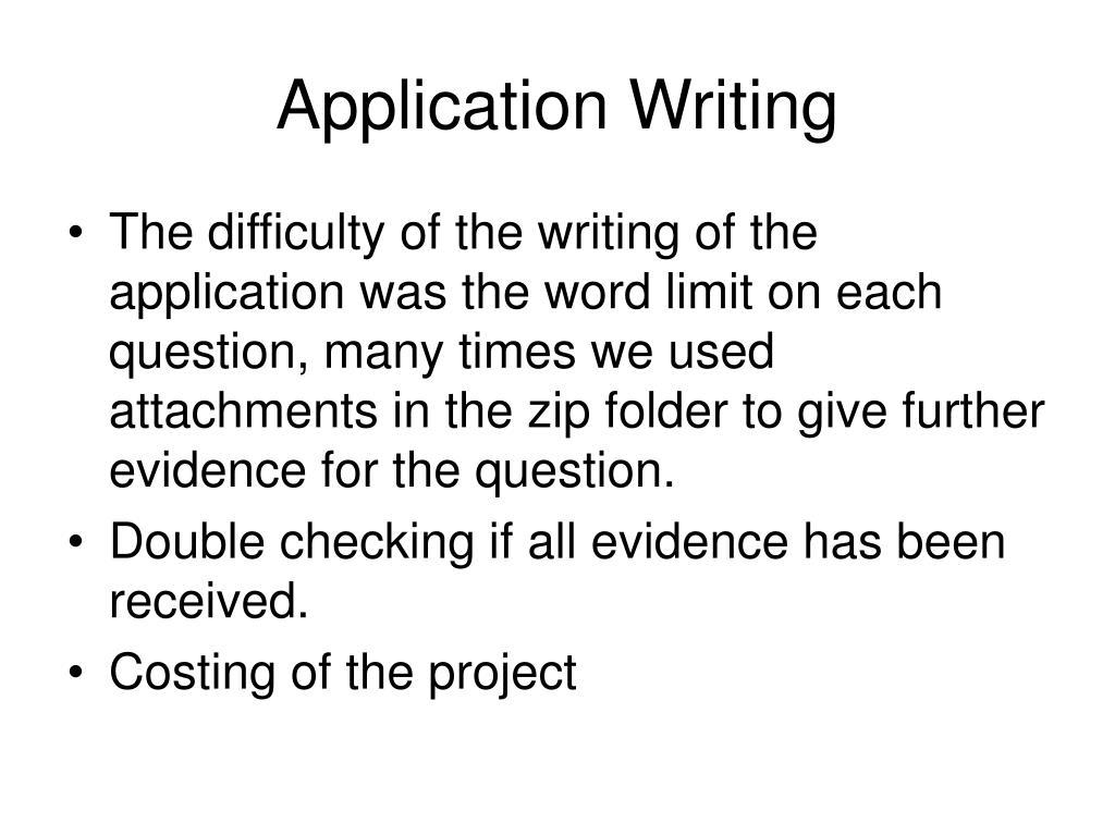 Application Writing