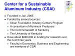 center for a sustainable aluminum industry csai