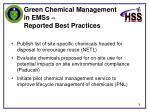 green chemical management in emss reported best practices