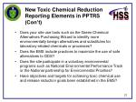 new toxic chemical reduction reporting elements in pptrs con t