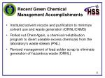 recent green chemical management accomplishments