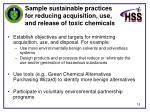 sample sustainable practices for reducing acquisition use and release of toxic chemicals