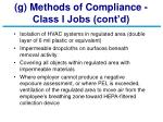 g methods of compliance class i jobs cont d