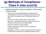 g methods of compliance class ii jobs cont d