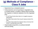 g methods of compliance class ii jobs