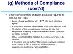 g methods of compliance cont d