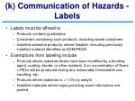 k communication of hazards labels