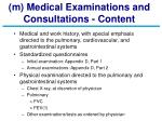 m medical examinations and consultations content