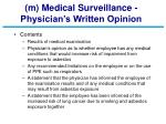 m medical surveillance physician s written opinion