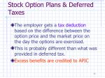 stock option plans deferred taxes1