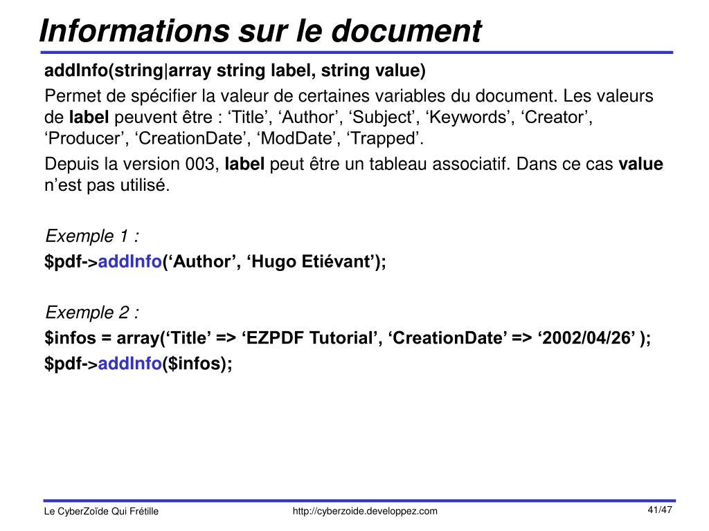Informations sur le document