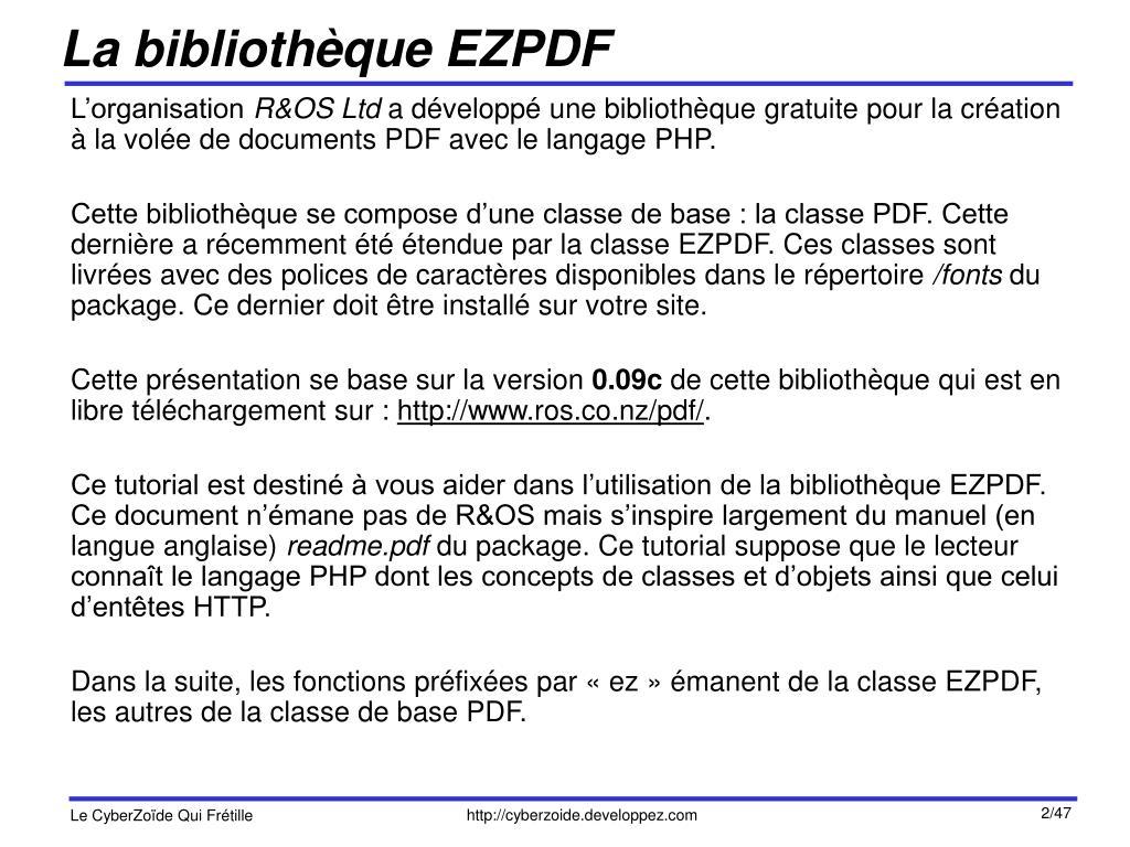 La bibliothèque EZPDF