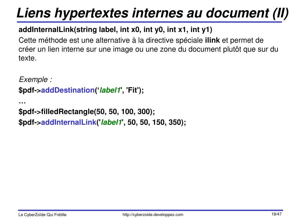 Liens hypertextes internes au document (II)