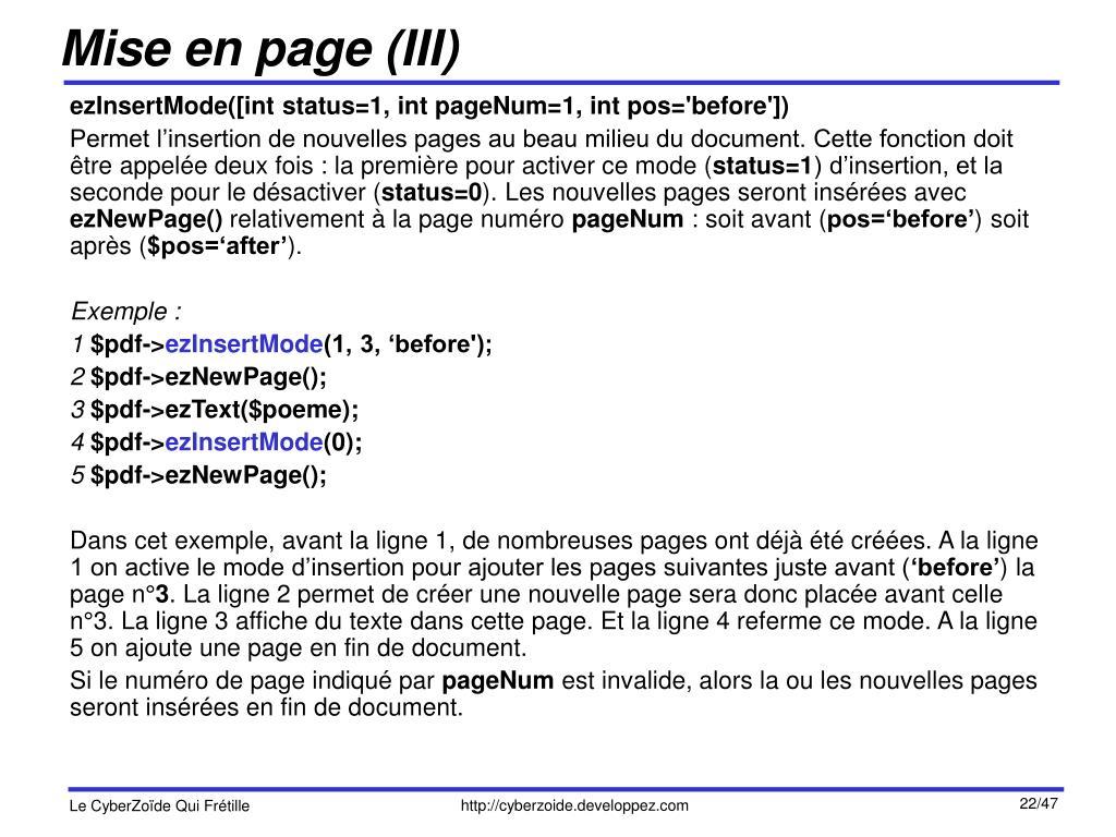 Mise en page (III)