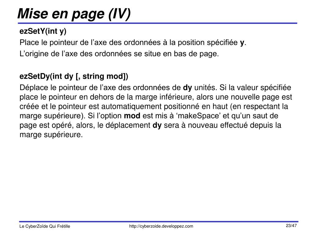 Mise en page (IV)