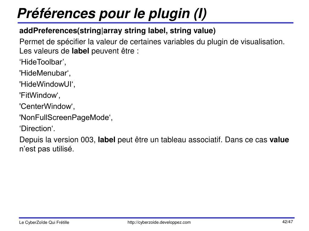 Préférences pour le plugin (I)