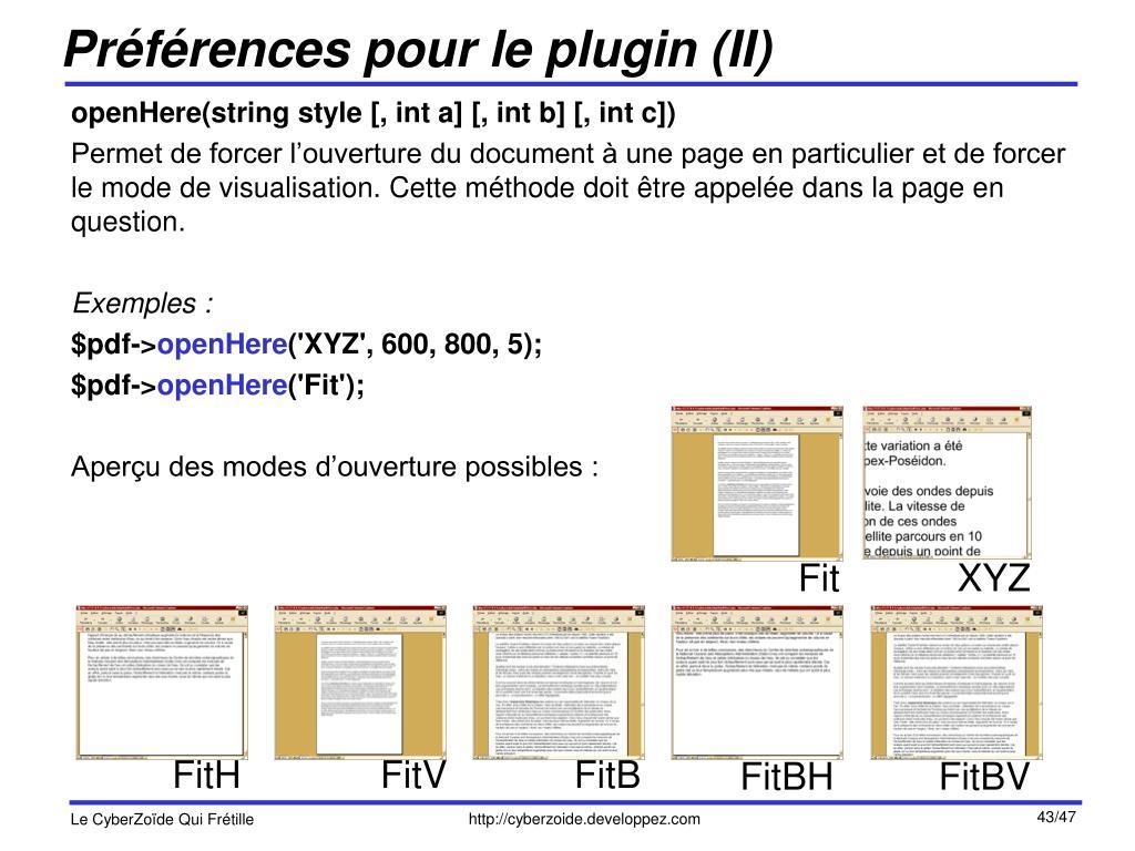 Préférences pour le plugin (II)