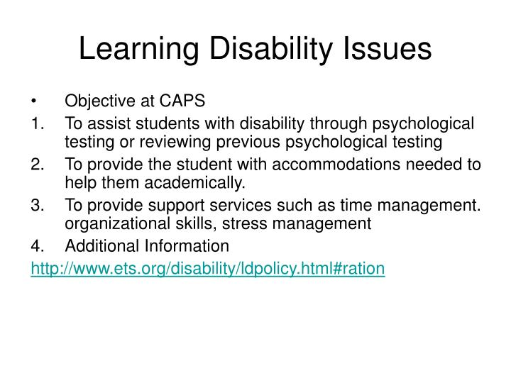learning disability issues n.