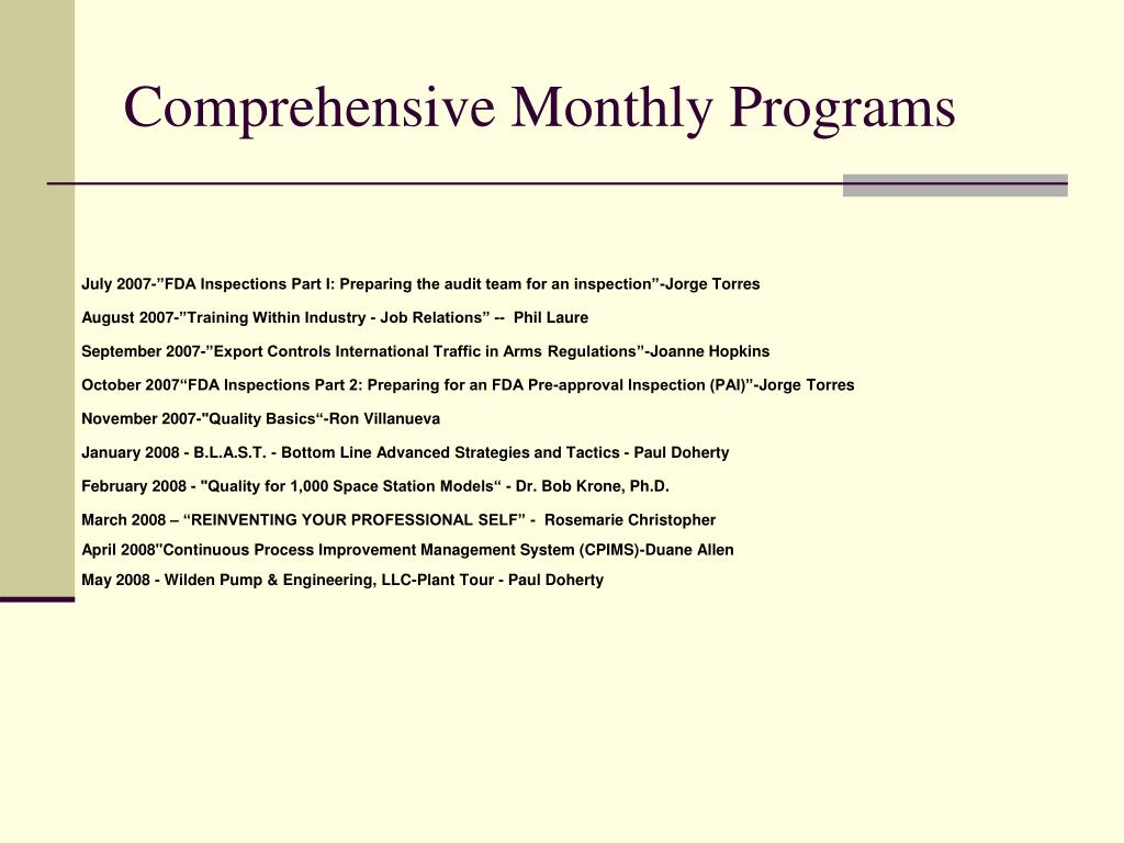 Comprehensive Monthly Programs