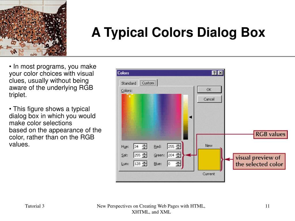 A Typical Colors Dialog Box