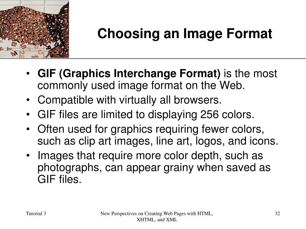 Choosing an Image Format