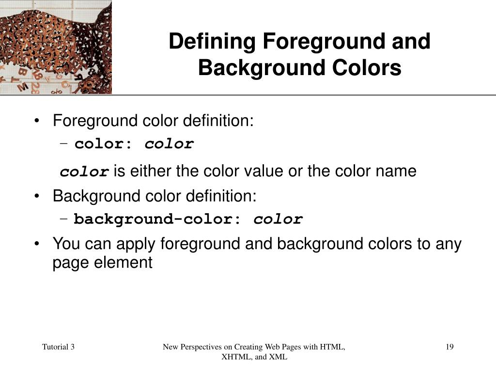 Defining Foreground and Background Colors