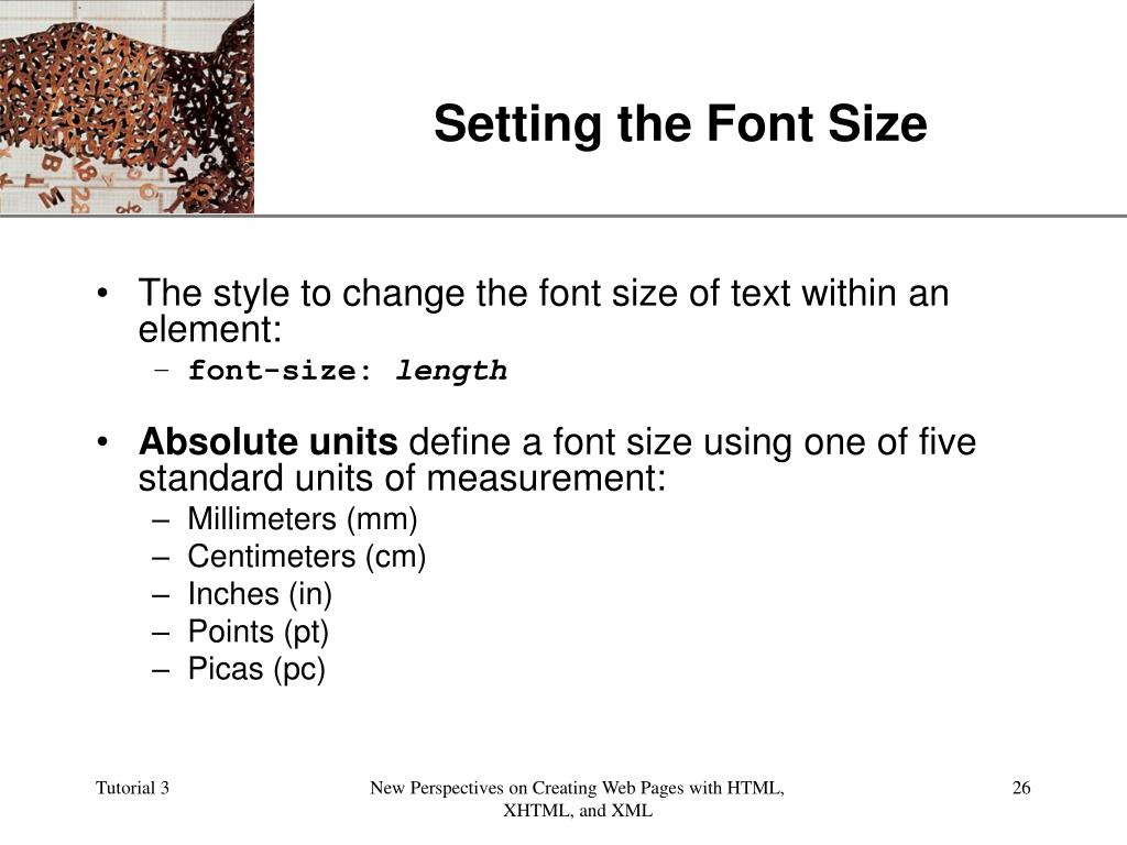 Setting the Font Size