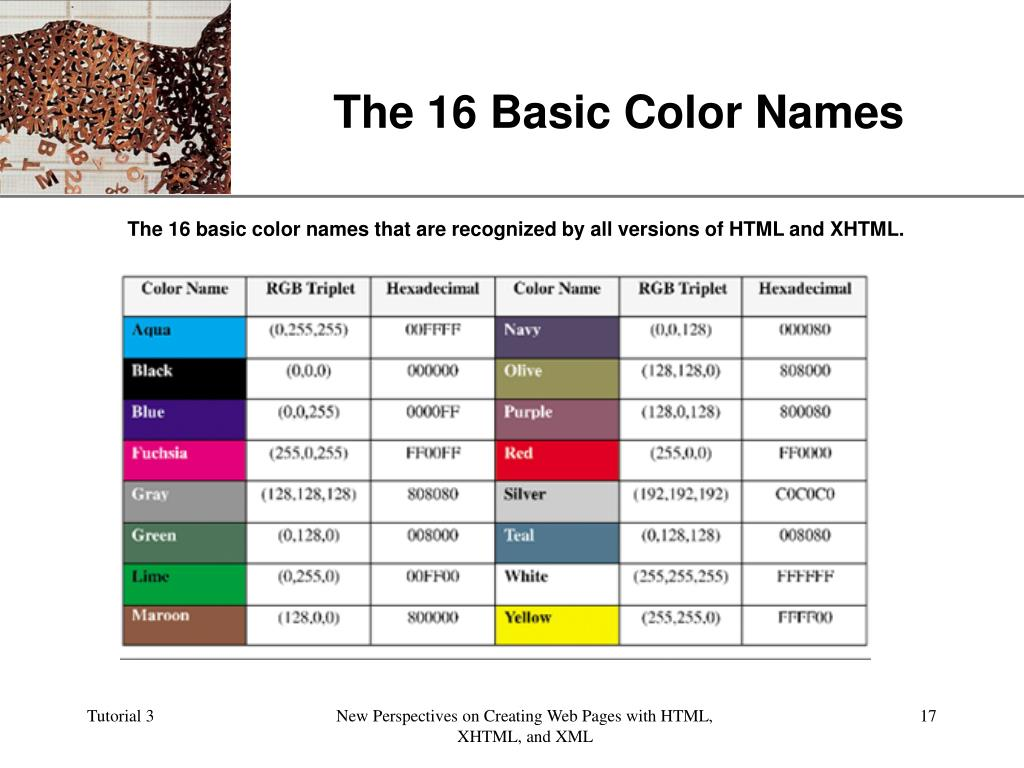 The 16 Basic Color Names