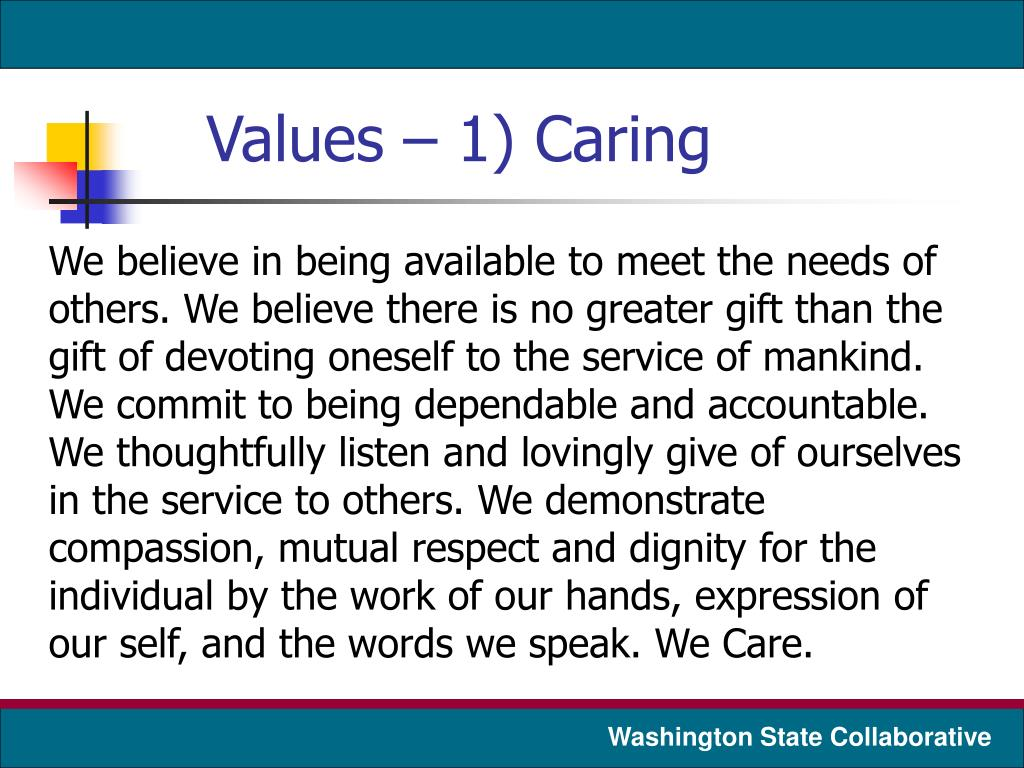 Values – 1) Caring