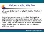 values who we are