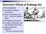 short term effects of embargo act