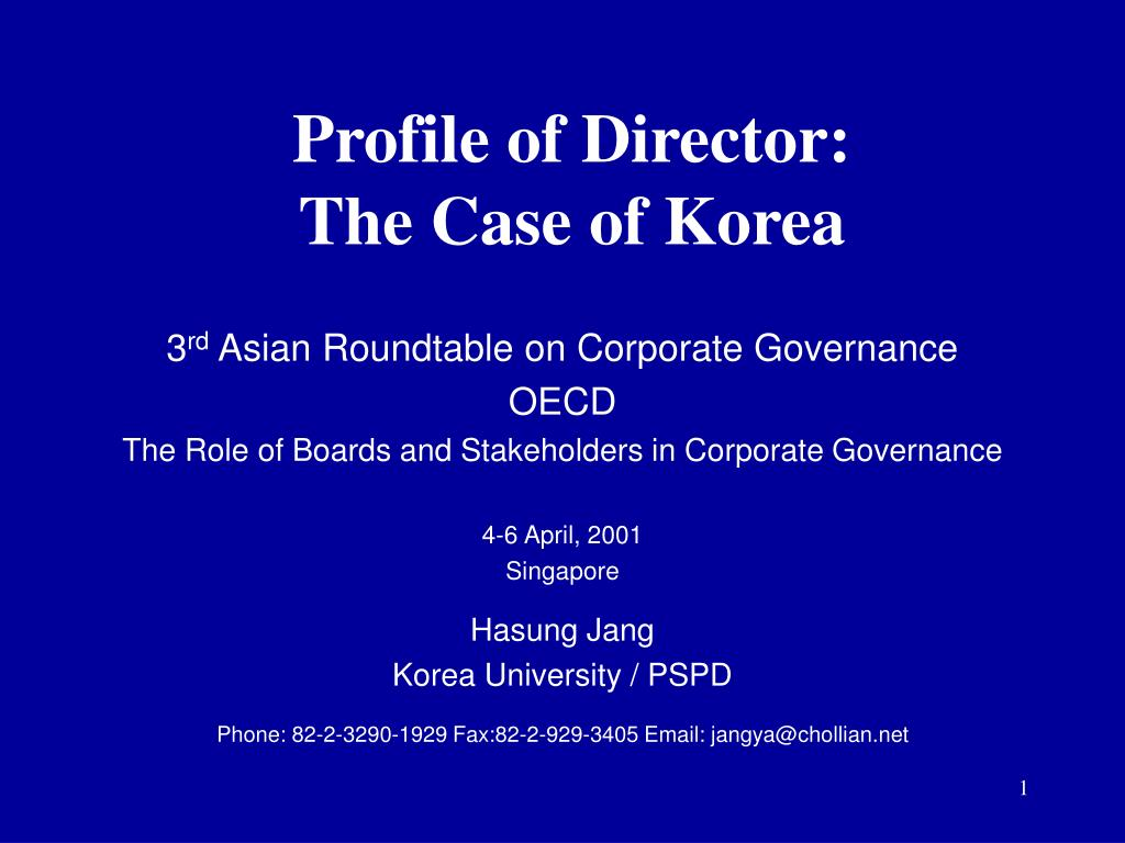 profile of director the case of korea l.