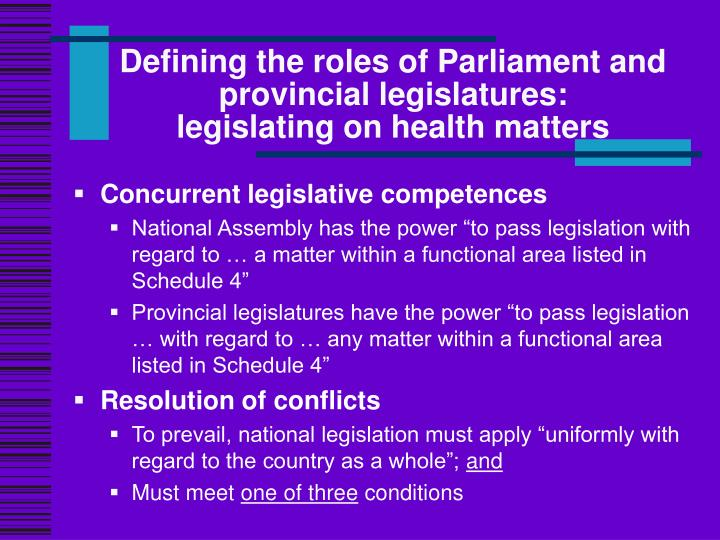 Defining the roles of parliament and provincial legislatures legislating on health matters