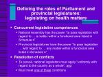 defining the roles of parliament and provincial legislatures legislating on health matters