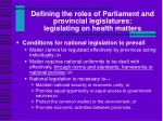 defining the roles of parliament and provincial legislatures legislating on health matters4