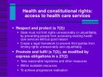 health and constitutional rights access to health care services