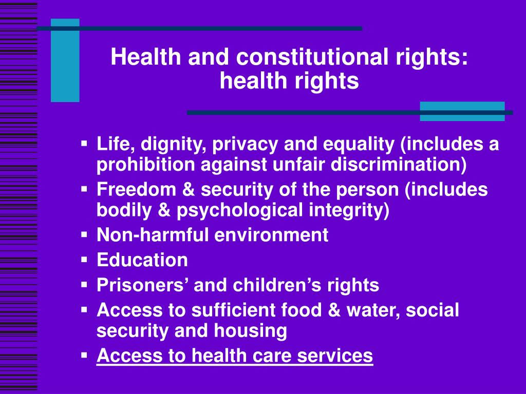 Health and constitutional rights: health rights