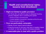 health and constitutional rights lessons from grootboom
